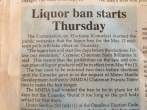 Liquor Ban Announced