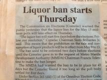 Liquor Ban Announced