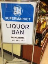 Liquor Ban Sign