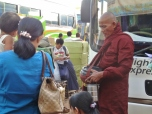 Burmese Monk at the Bus Station