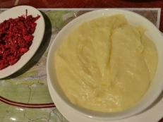 Tashmujabi (cheesy mashed potatoes) and Beetroot Salad