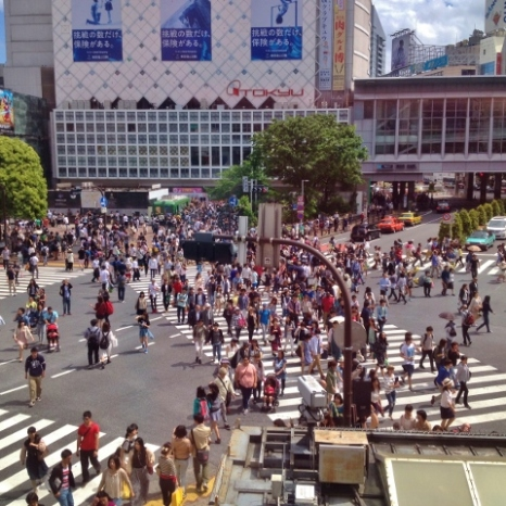 View of Shibuya Crossing from Starbucks