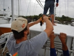 Carefully Drilling Holes in New Bimini Top