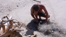 Digging Out a Fish Net