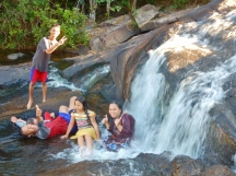 Local Family Enjoying the Waterfall